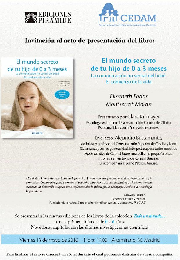 presentación del libro el mundo secreto de tu hijo de 0 a 3 meses