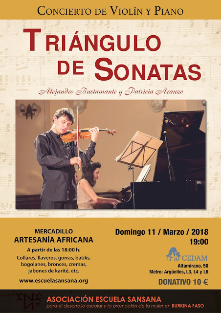 Concierto Solidario de Violín y Piano por Alejandro Bustamante y Patricia Arauzo